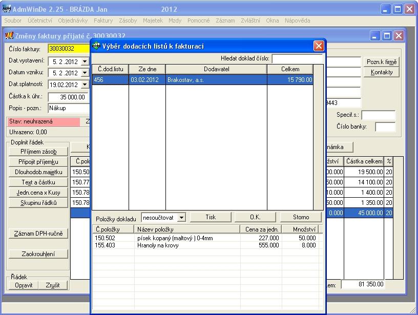 Podvojné účetnictví - fakturace přijatých dodacích listů - pokud dodavatel dodává s dodacím listem, které až následně fakturuje (může být fakturováno více dodacích listů na jednu fakturu)