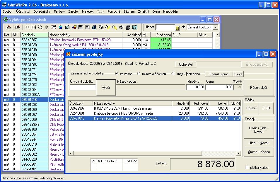 Zadání prodejky - účtenky v účetní program AdmWin